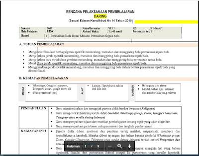 RPP Daring PJOK Kelas 7 Semester 1/Ganjil