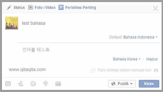 Update status facebook multi bahasa