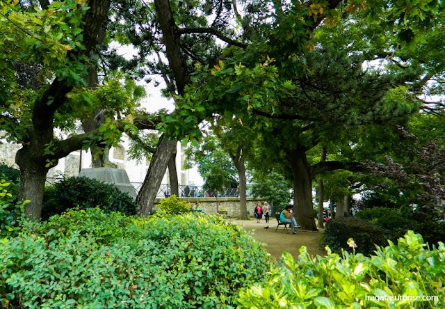 Jardins da Basílica de Sacre Coeur, Montmartre, Paris