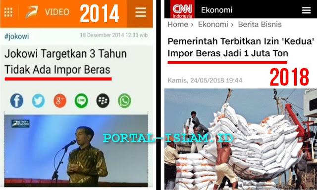 [2014] Jokowi Targetkan 3 Tahun Tidak Ada Impor Beras, [2018] Pemerintah Impor Beras 1 Juta Ton