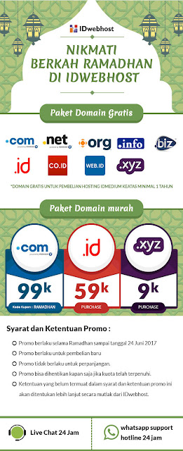 Promo Paket Domain Gratis, Ramadhan 1438 H