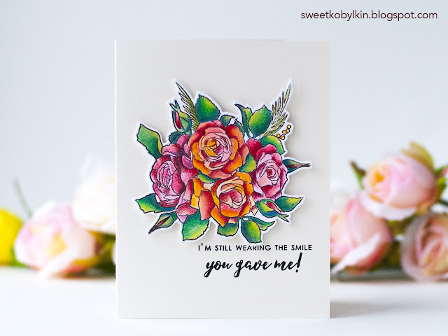 Floral card coloured with Polychromos pencils