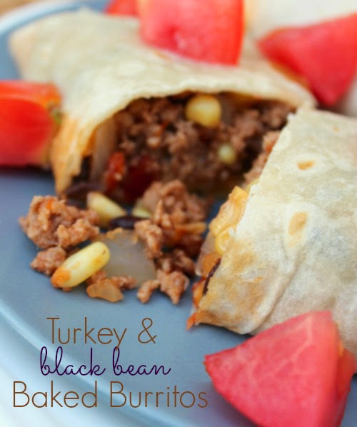 Turkey & Black Bean Baked Burritos from No Diets Allowed