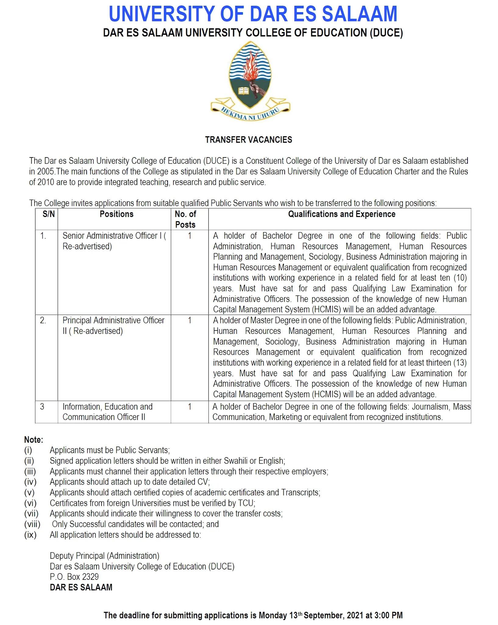 3 Transfer Jobs at Dar es Salaam University College of Education DUCE September 2021