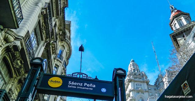 Estação Sáenz Peña do metrô de Buenos Aires, na Avenida de Mayo