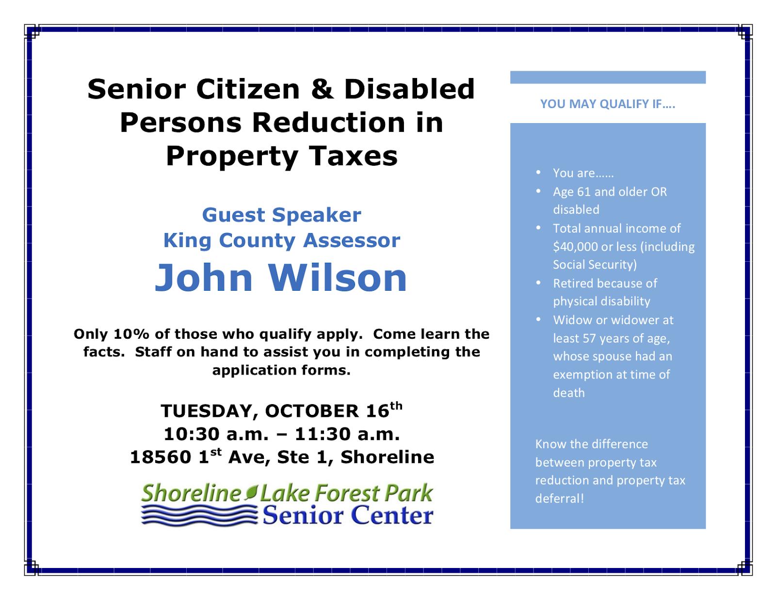 Shoreline Area News: King County Assessor John Wilson at SL-LFP