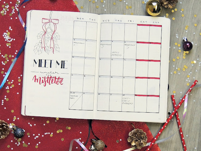 bulletjournal monthly spread inspiration blogmas glitterisblack