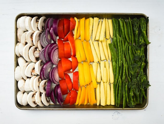 STEP 1 - Vegetables in a single layer on a sheet pa