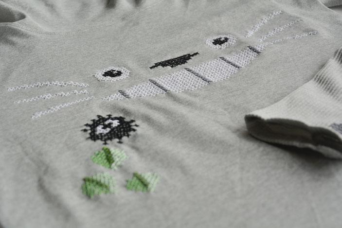 Sudadera de Totoro con punto de cruz