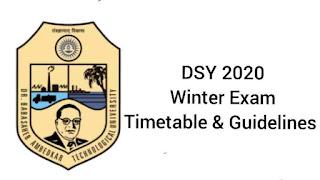 DBATU DSY Winter Exam Timetable, General Guidelines, Passing Criteria