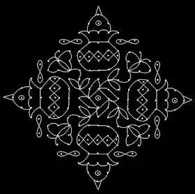 kalash dot rangoli for diwali