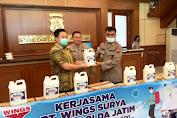 PT Wings Surya Berikan Bantuan Ribuan Liter Cairan Bahan Disinfektan ke Polda Jatim