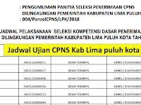 Jadwal dan Nama Peserta UJIAN CAT CPNS 2018 - Kabupaten Limapuluhkota, Download Disini !!!