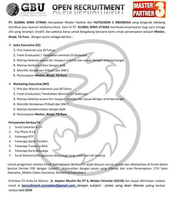 Loker Medan Juni 2020 di Global Bima Utama (GBU)