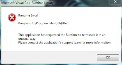cara instal visual runtime yang error