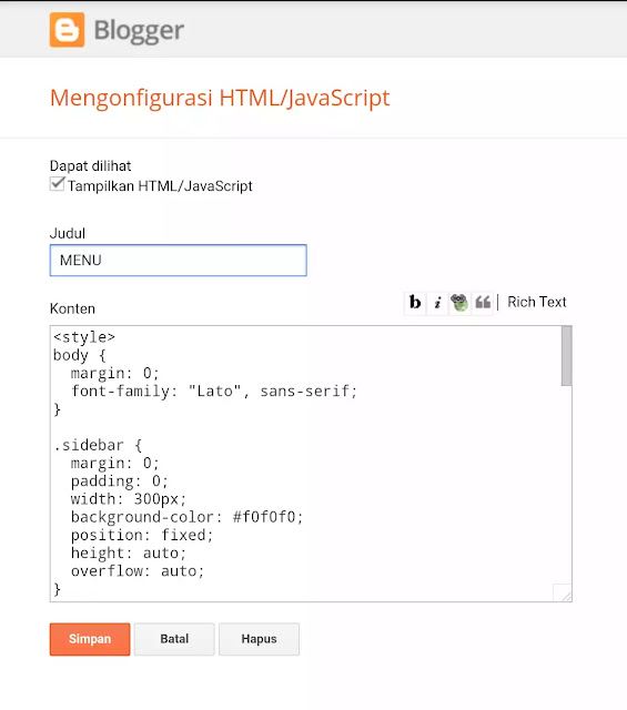 widget blogger HTML/Javascript