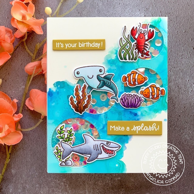 Sunny Studio Stamps: Summer Cards using Best Fishes & Fabulous Flamingos Stamps by Angelica Conrad and Mendi Yoshikawa