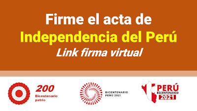 Firma el acta de Independencia del Perú