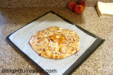 Peach Frangipane Galette - Rustic Tart (this photo the finished product cooling on its baking sheet) / www.delightfulrepast.com