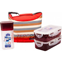 Lock & Lock Lunch Box 3 Pcs Set with Stripe Pattern Bag HPL758S3SR