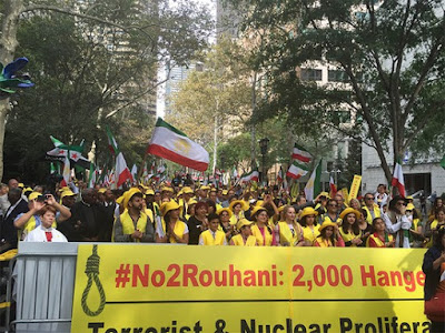 Iranian-Americans rally against Rouhani at UN 28 Sept 2015