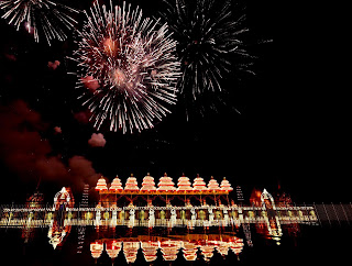 Spectacular display of fireworks to mark the opening of Krishna Pushkaralu 2016