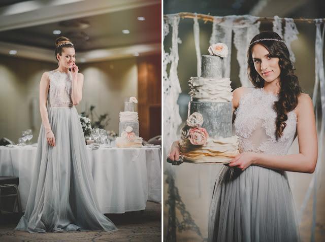 Szara suknia ślubna boho