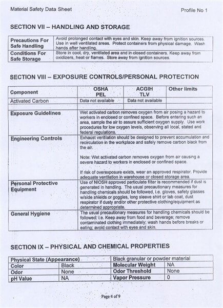 Material Safety Data Sheet (MSDS) Karbon Aktif Calgon FiltraSorb 100