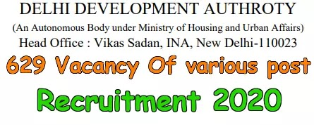 DDA 629 vacancy of Patwari and Other post Recruitment 2020