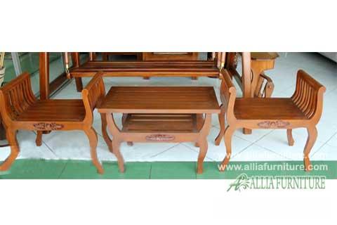 kursi teras rumah kayu jati model pelana