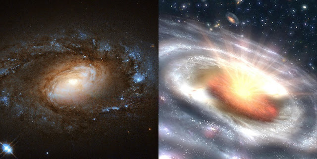 A new study led by University of Maryland astronomers documented six sleepy, low-ionization nuclear emission-line region galaxies (LINERs; left) suddenly transforming into blazing quasars (right), home to the brightest of all active galactic nuclei. The researchers suggest they have discovered an entirely new type of black hole activity at the centers of these six LINER galaxies.