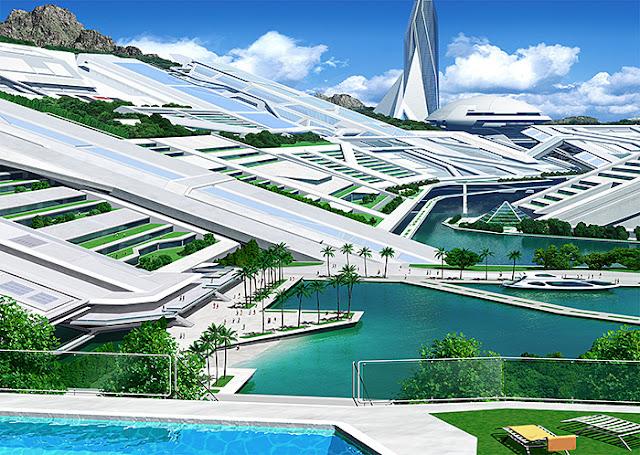 リアルイラスト、3DCG、俯瞰、スマートコミュニティ、近未来都市、SF
