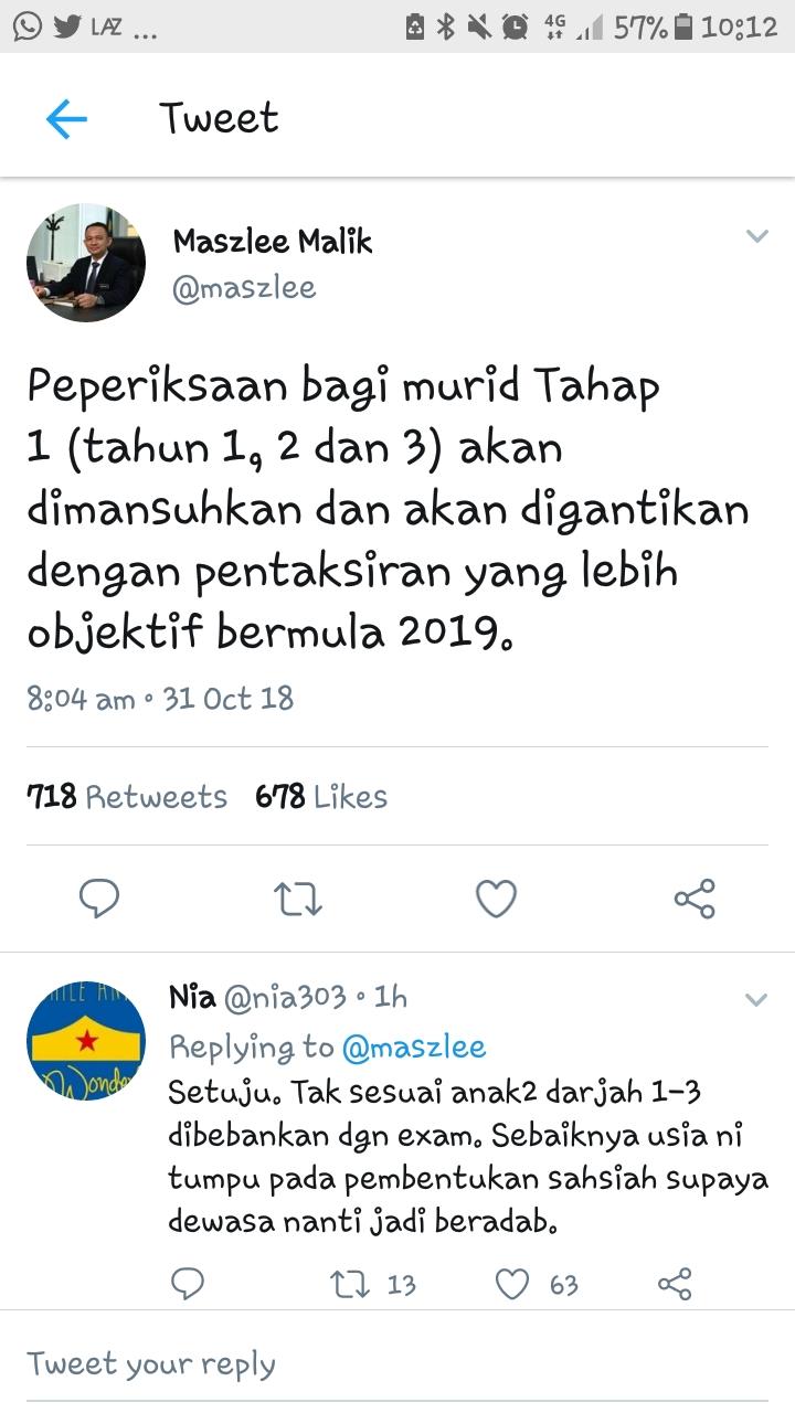 Tiada Peperiksaan Bagi Murid Tahap 1 pada 2019