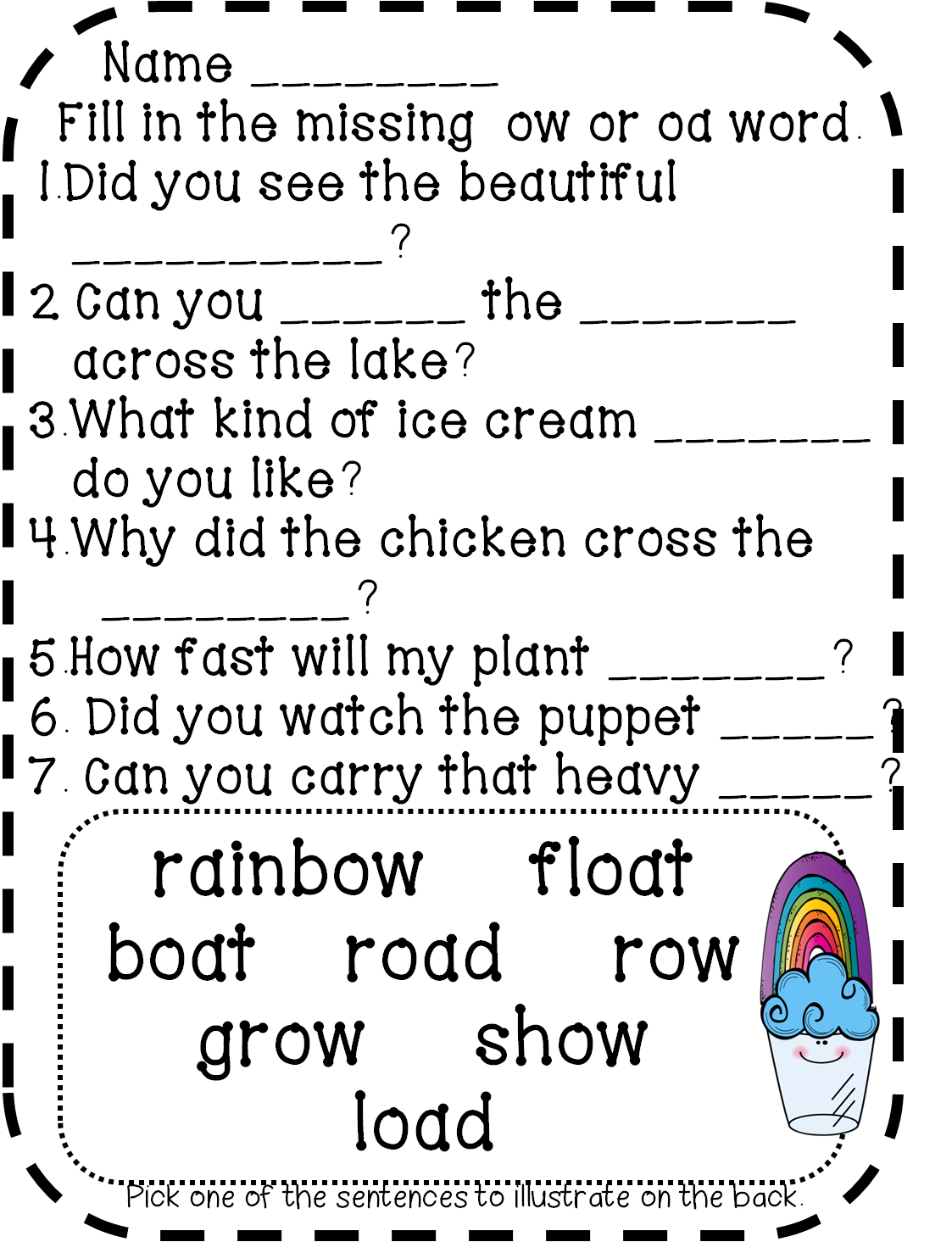 First Grade Wow Rainbow Floats Prepositions And Chicken