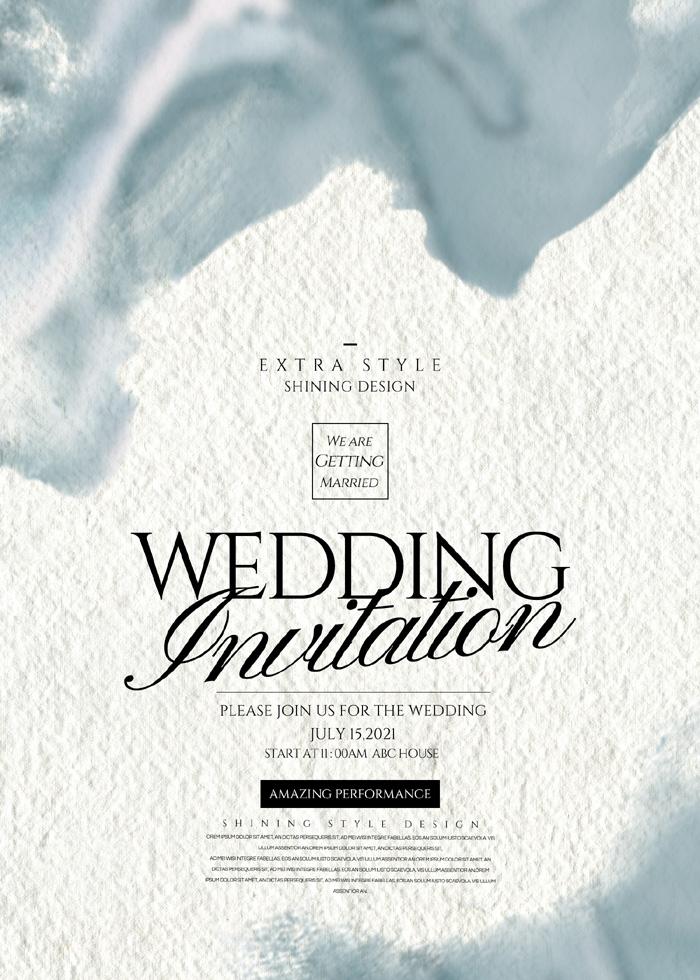 Simple Romantic Fashion Ink Wedding Invitation