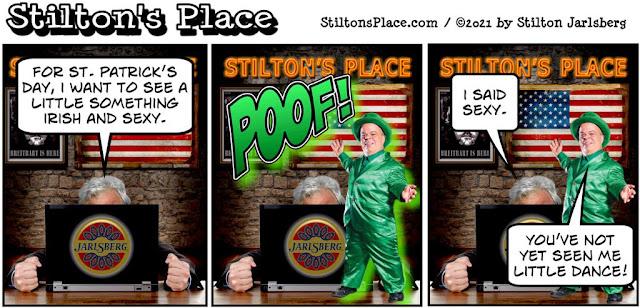 stilton's place, stilton, political, humor, conservative, cartoons, jokes, hope n' change, st patrick's day, leprechaun