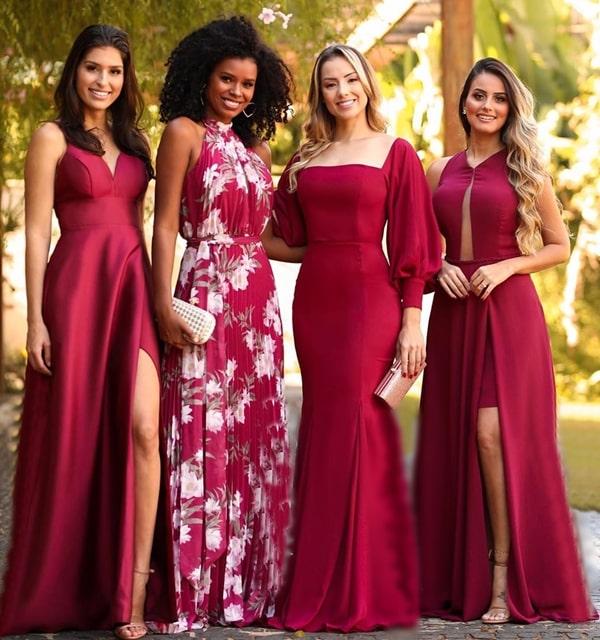 vestidos marsala para madrinhas de casamento paleta