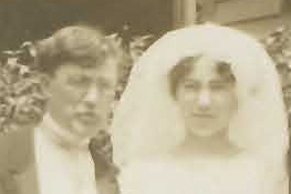 Will and Agnes Stevens after wedding at St Anne Church in Chicago IL 1912