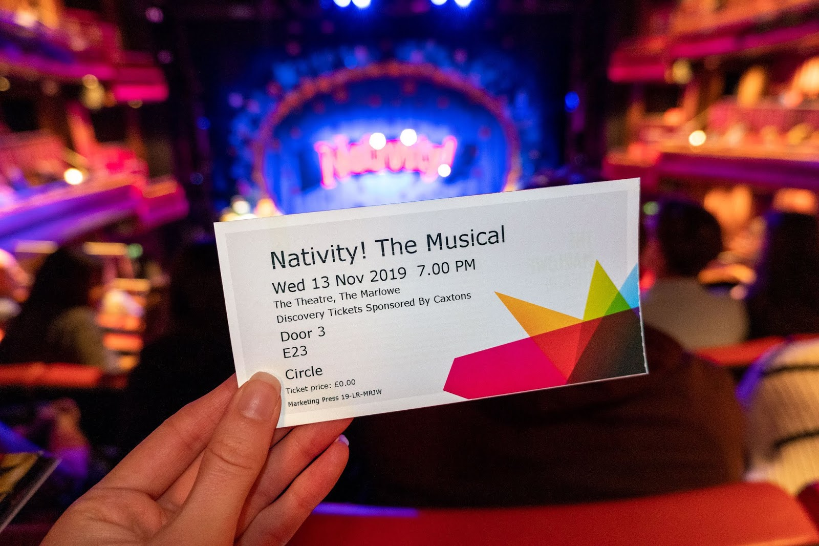 My ticket for Nativity! at the Marlowe Theatre, Canterbury