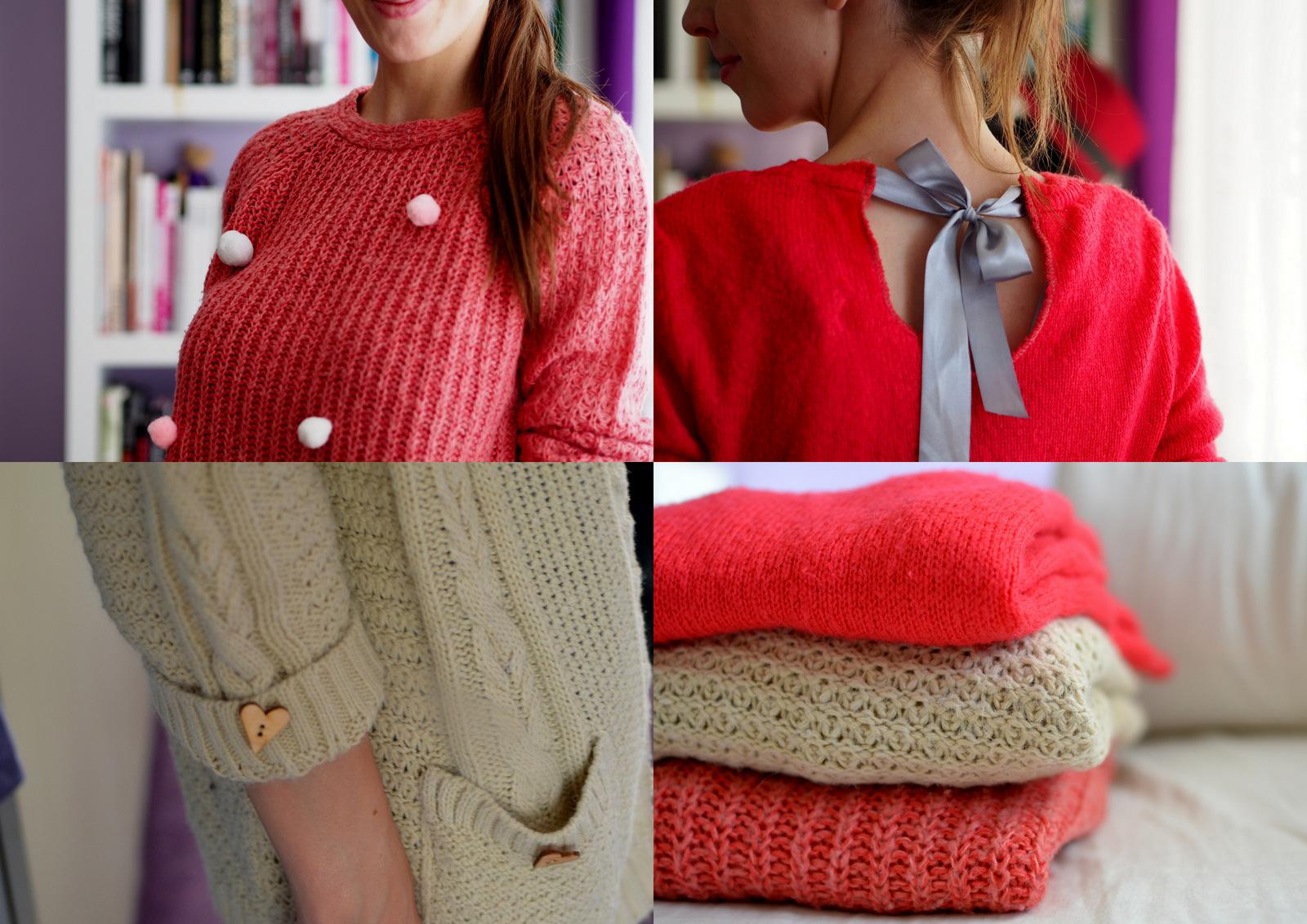 DIY: 4 tipy ako prerobiť sveter zo secondhandu na trendy kúsok // 3 svetre za 3 eurá