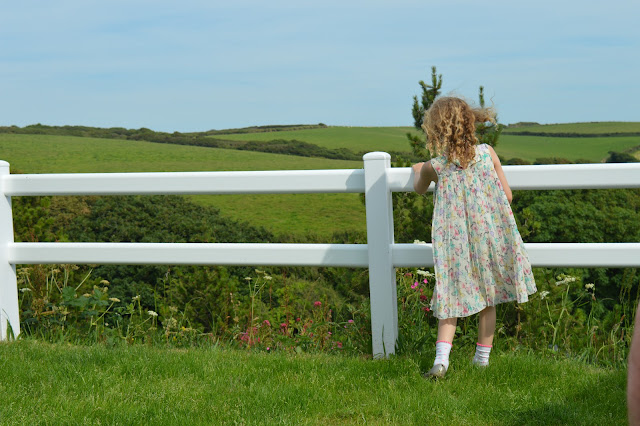 A white fence with a young girl in a floaty dress and curly hair looking out across the fields.
