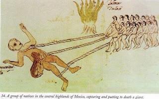 Un grupo de nativos de las montañas del centro de México capturan y asesinan un gigante. Crédito: Códice Ríos.