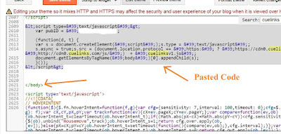 paste the converted Cuelinks java script code inside the edit html