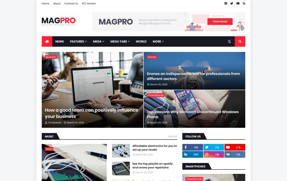 magpro-magazine-blogger-template-youtube