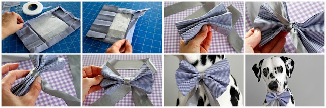 Step-by-step instructions for making a dog bow with ribbon neck ties