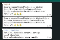 Naik Pangkat, Dua Pejabat Kogartap II/Bandung Banjir Ucapan Selamat di Medsos