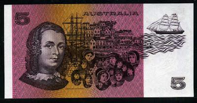 Australian bank notes money five dollars