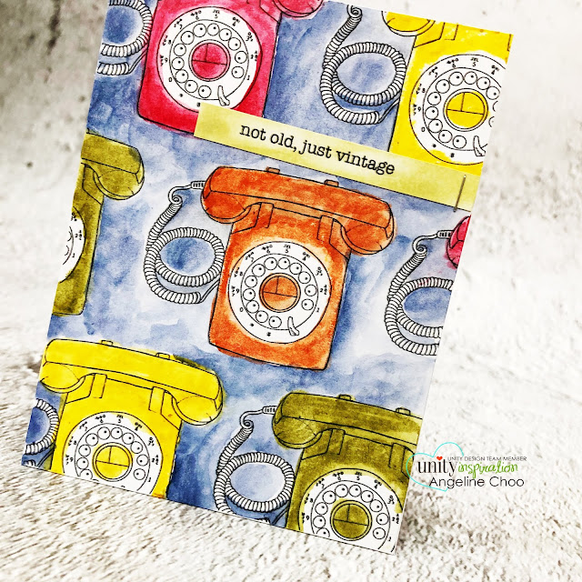 ScrappyScrappy: Happy 2020 & Angela's Birthday Bash with Unity Stamp - Old Ways #scrappyscrappy #unitystampco #cardmaking #card #stamping #youtube #quicktipvideo #birthdaybash #happy2020 #oldways #retrophone #vintagephone #timholtz #distresscrayons #watercolorpainting #watercolor #distresswatercolor