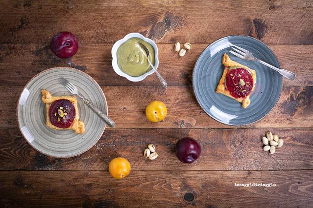 Plum and pistachio custard pastries