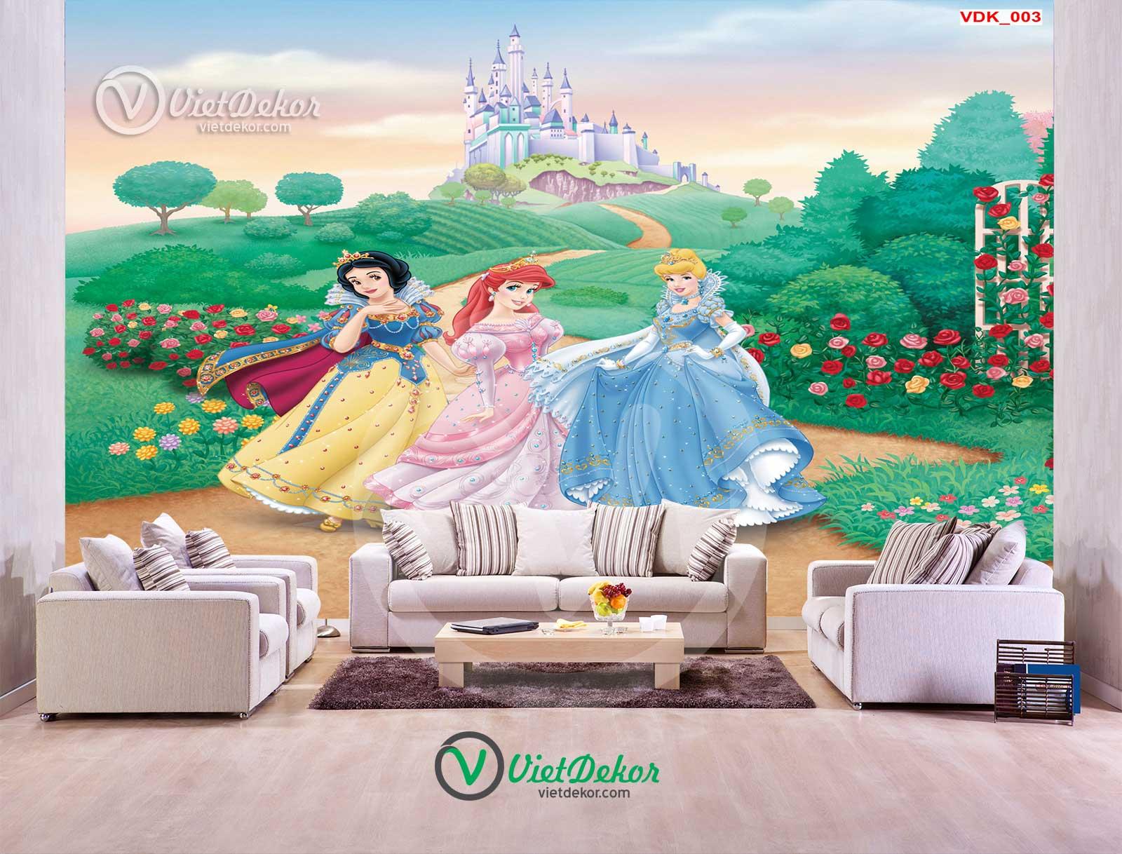 Tranh dán tường 3d phong cảnh công chúa cho bé gái